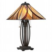 Asheville Table Lamp in Valiant Bronze and Tiffany Glass - QUOIZEL QZ/ASHEVILLE/TL
